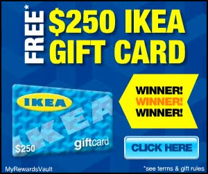 250 ikea gift card at totally free stufftotally free stuff. Black Bedroom Furniture Sets. Home Design Ideas