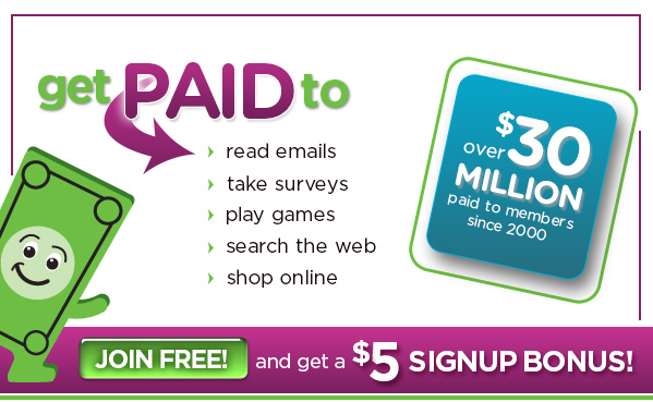 Get Paid to Read Emails, Play Games, Search the Web, $5 Signup Bonus